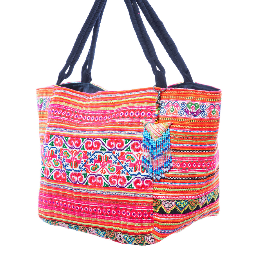 Deknonydok Hmong Textile Weekender Tote with Hand Beaded Keychain