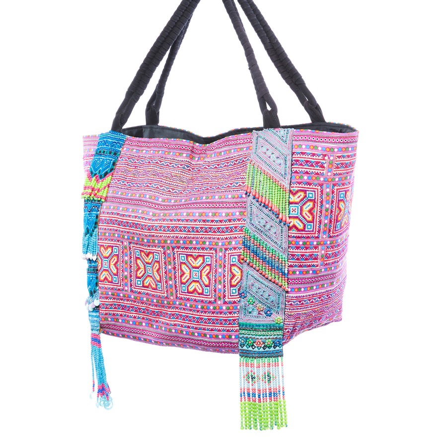 Phaiu Purple Multi Printed Weekender Tote with Hand Beaded Details