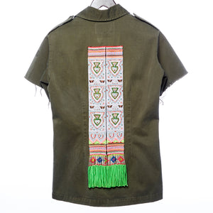 Nua Distressed Army Shirt with Hmong Textile and Hand Beaded Details