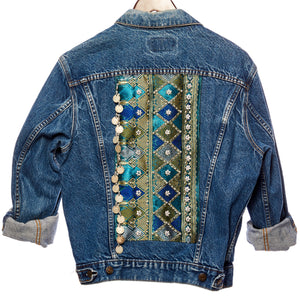 Ching Distressed Denim Jacket with Blue Teal Laos Silk, Burma Coin, and Hand Beaded Detail Back