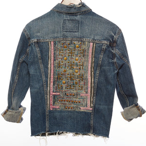 Fa Distressed Denim Jacket with Upcycled Printed Textile and Gold Hand Beaded Detail Front