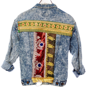 Palad Distressed Vintage Festival Jacket with Upcycled Textiles