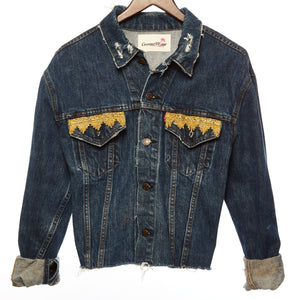 Yim Distressed Medium Denim Festival Jacket with Upcycled Textile