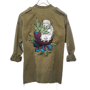 Pachamchai Distressed Army Jacket with Buddha Patch and Lao Silk with Hand Beaded details and Burma Coins