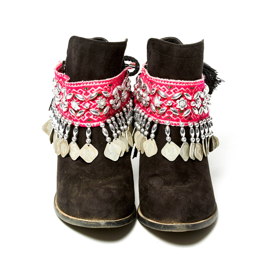 Chaiban pink print with hand beaded and burma coin boot cuffs