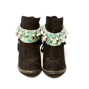 Dok Tauaen Green Printed Boot Cuff with Burma Coins and Hand Beaded Detail