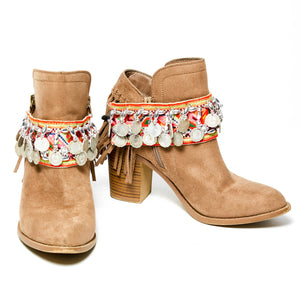 Mele Multi Color Printed Textile Boot Cuff with Hand Beaded Details and Burma Coins