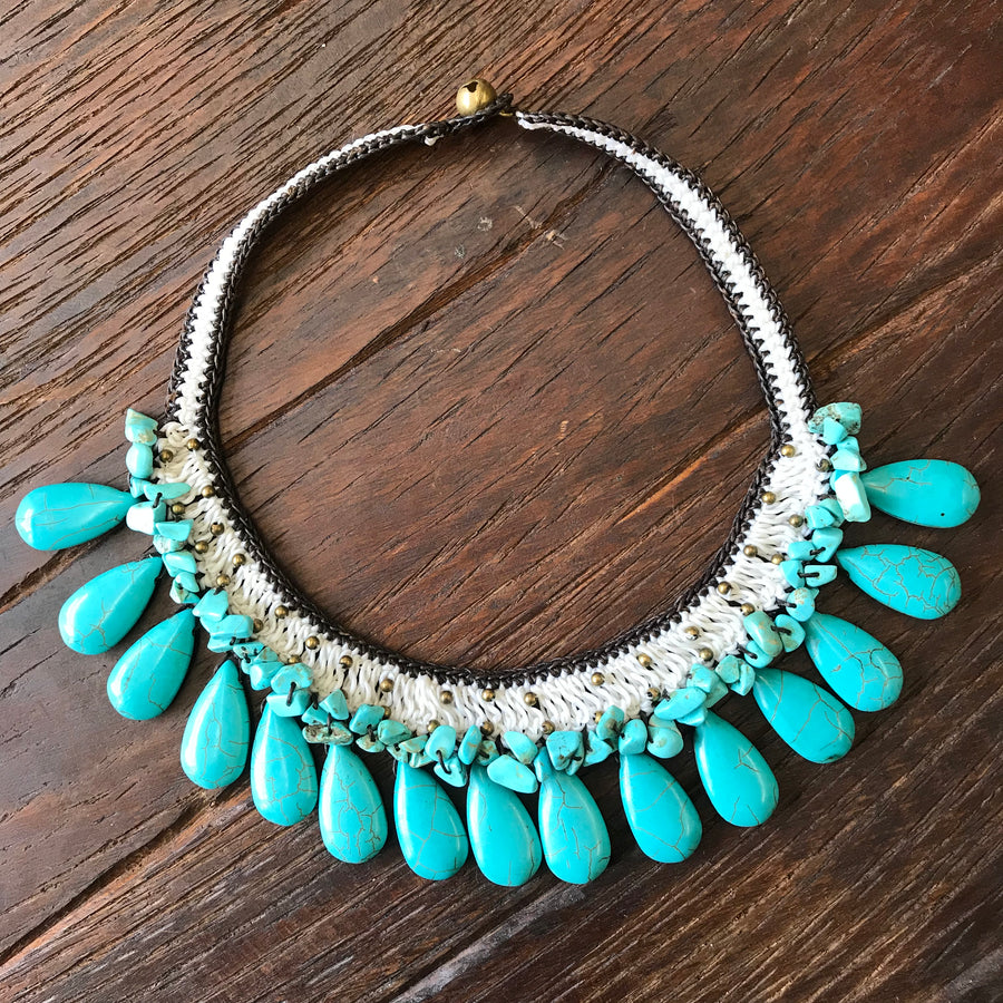 Roselani Crochet Necklace with Turquoise Teardrops and gold accents
