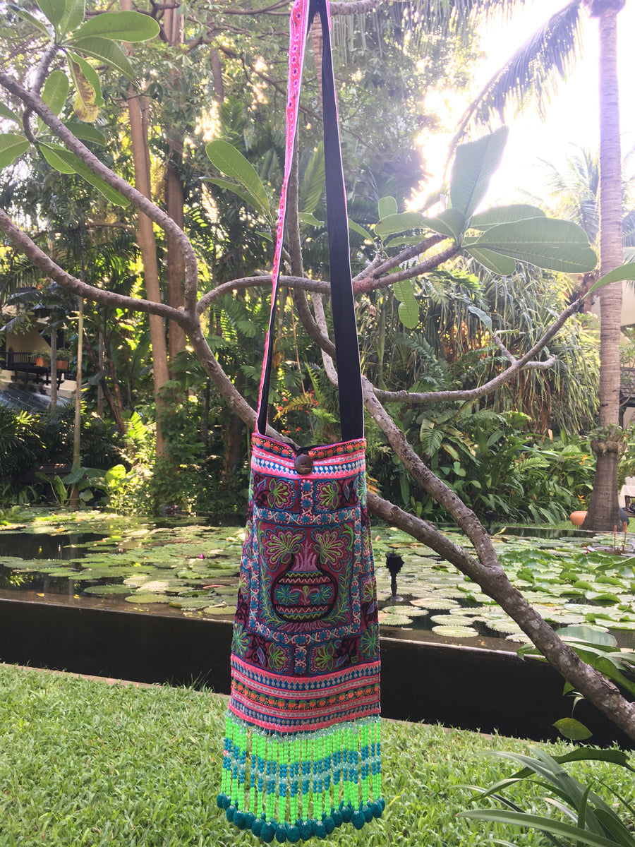 Phra Upcycled Purple Multi Color Printed Festival Crossbody with Hand Beaded and Mini Pom Pom Detail