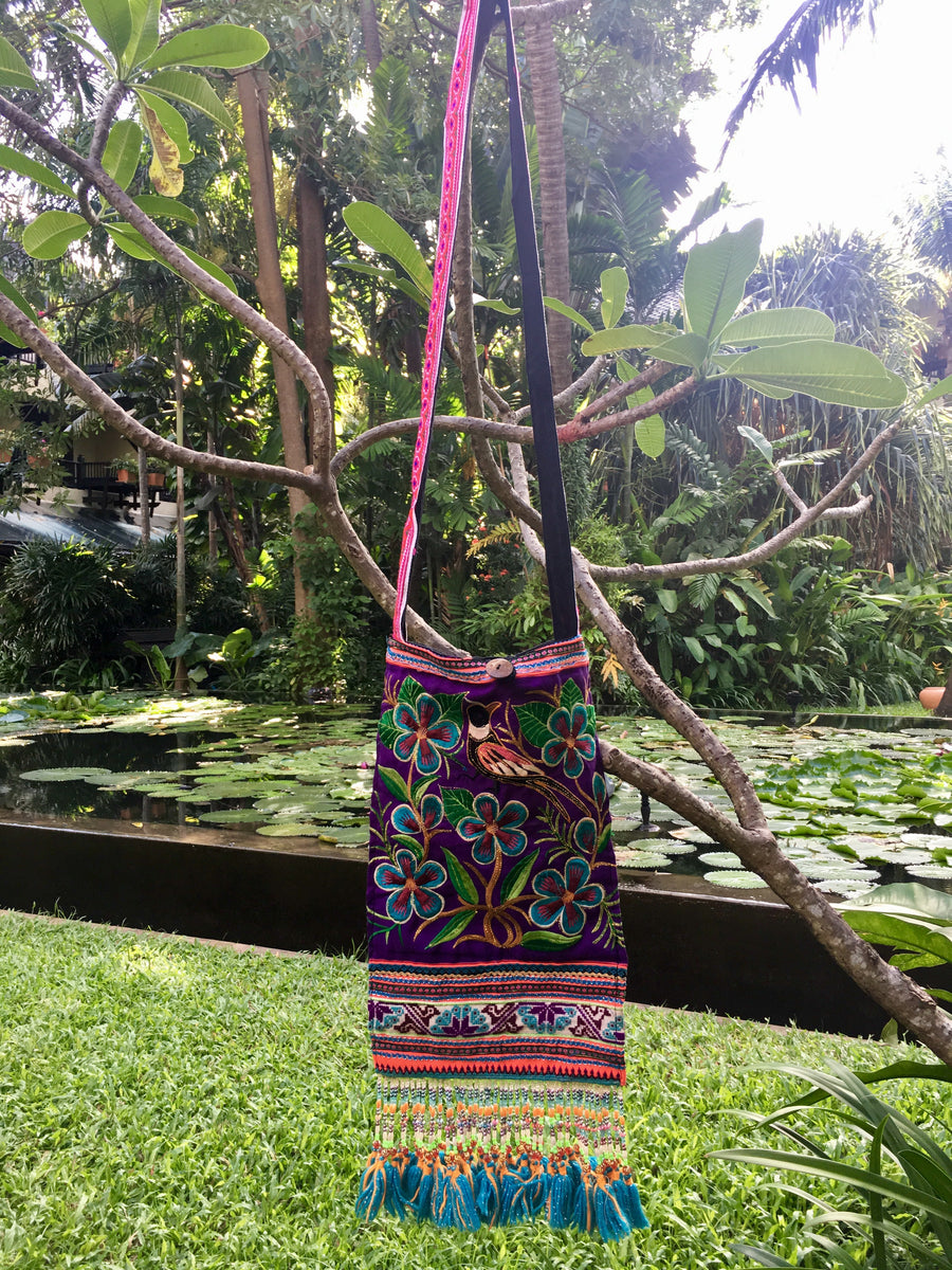 Sad Sa Upcycled Purple Multi Color Printed Festival Crossbody with Hand Beaded Detail and Mini Yarn Tassel
