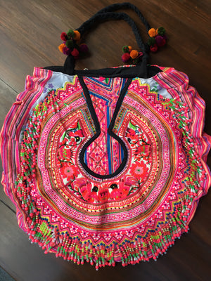 Deuon Upcycled Hmong Textile Shoulder Bag with Pom Pom and Hand Beaded Detail Flat Lay