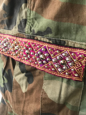Savan Vintage Camo Pant With Lao Silk and Hand Beaded Details Magenta Close Up