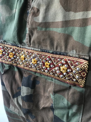 Savan Vintage Camo Pant With Lao Silk and Hand Beaded Details Brown Close Up