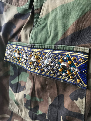 Savan Vintage Camo Pant With Lao Silk and Hand Beaded Details Navy Close Up