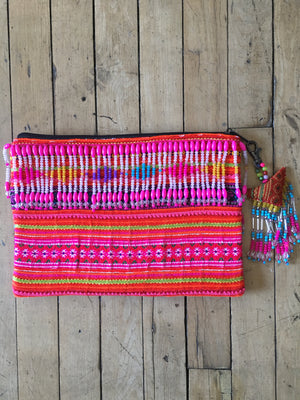 Dokkulab Multi Color Hmong Textile Clutch with Hand Beaded Tassel Detail and Hand Beaded Keychain Lifestyle