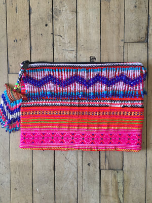 Phusana Multi Color Printed Clutch With Pattern Hand Beaded Detail with Hand Beaded Keychain Lifestyle