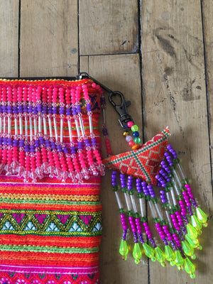 Pualani Multi Color Printed Clutch with Pattern Hand Beaded Detail with Hand Beaded Keychain Lifestyle