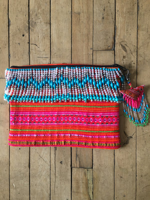 Khao Multi Color Printed Clutch with Turquoise Hand Beaded Details and Hand Beaded Keychain Lifestyle