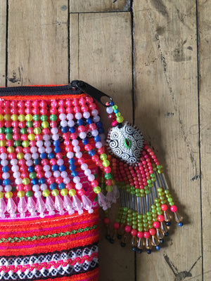 Fa Multi Color Hmong Textile Clutch with Hand Beaded Tassel Detail and Hand Beaded Keychain Close Up