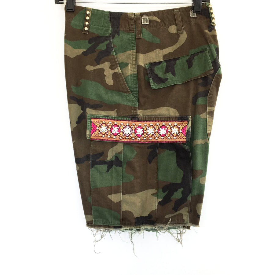 Fontok Distressed Camo Short with Lao Silk and Hand Beaded Detail in Pink