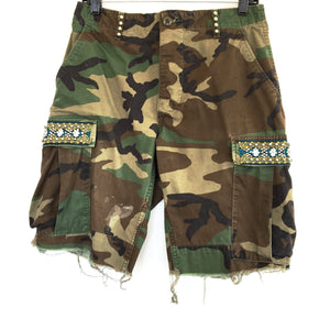 Fontok Distressed Camo Short with Lao Silk and Hand Beaded Detail in Green