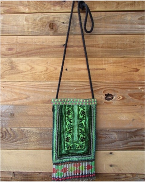 Varuka Upcycled Green Multi Color Hmong Pocket Crossbody with Hand Beaded Detail Lifestyle
