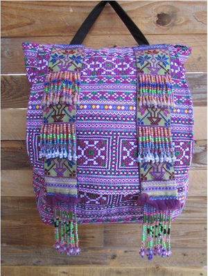 Mauli Purple Multi Color Print Hmong Tribal Backpack with hand beaded details Lifestyle