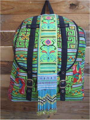 Mahina Lime Green Multi Color Printed Backpack with Hand Beaded details Lifestyle