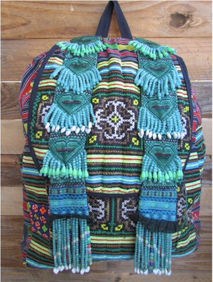 Soeng Multi Color Printed Tribal Backpack with Hand Beaded details Lifestyle