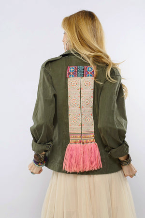 Khuchai Distressed Army Jacket with Hmong Textile and Yarn Details