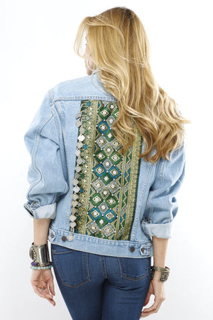 Ulani Distressed Light Denim Coin Jacket with Lao Silk and Hand Beaded Details and Burma Coin