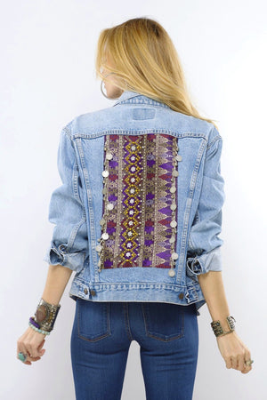 Makenna Distressed Light Denim Coin Jacket with Lao Silk and Hand Beaded Detail and Burma Coin