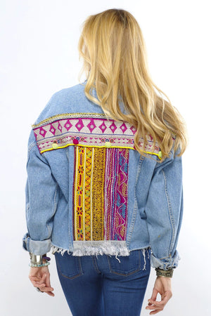 Aemnoa Distressed Festival Embroidered Denim Jacket Back