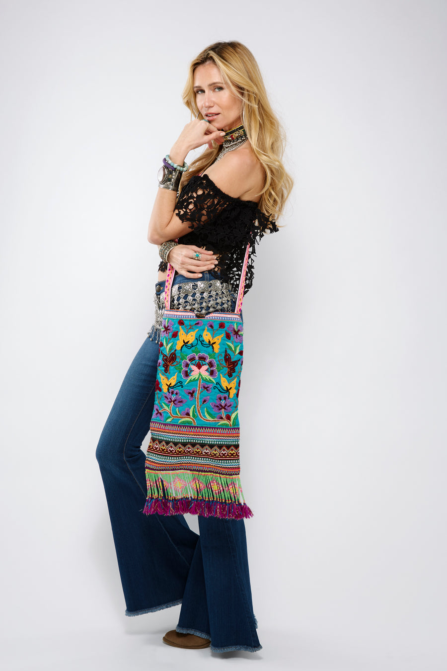 Thale Upcycled Blue Multi Color Printed Festival Crossbody with Hand Beaded Detail and Mini Yarn Tassel