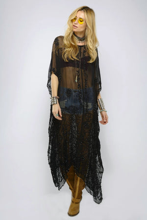 Daw Black Caftan Dress with Embroidered and Hand Beaded Detail