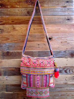 Peni Multi Color Printed Crossbody with Hand Beaded Details with Pom Pom Keychain Lifestyle
