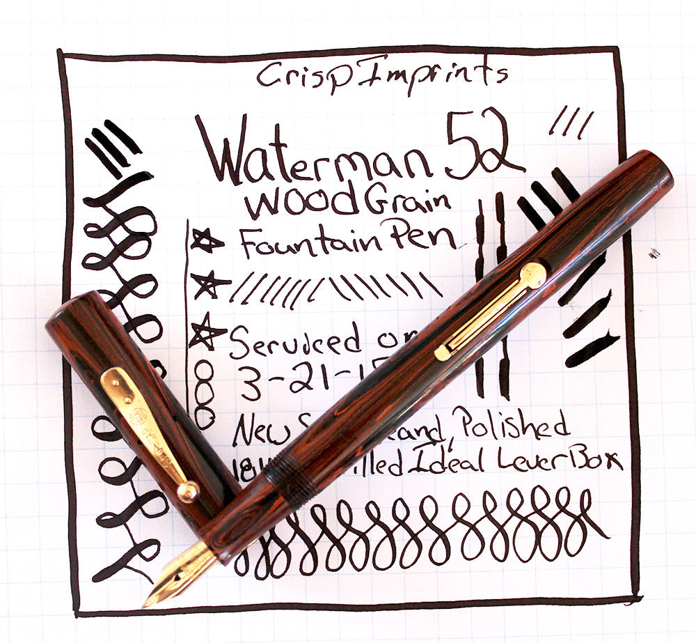 Waterman 52 Red Wood Grain Fountain Pen Writing Examaple