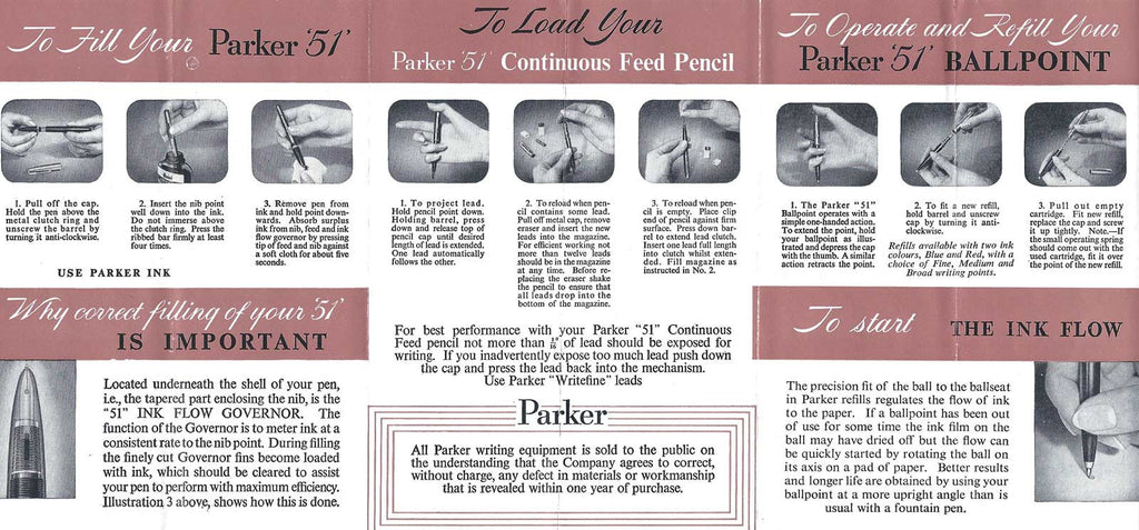 Parker 51 Filling & Operating Instructions