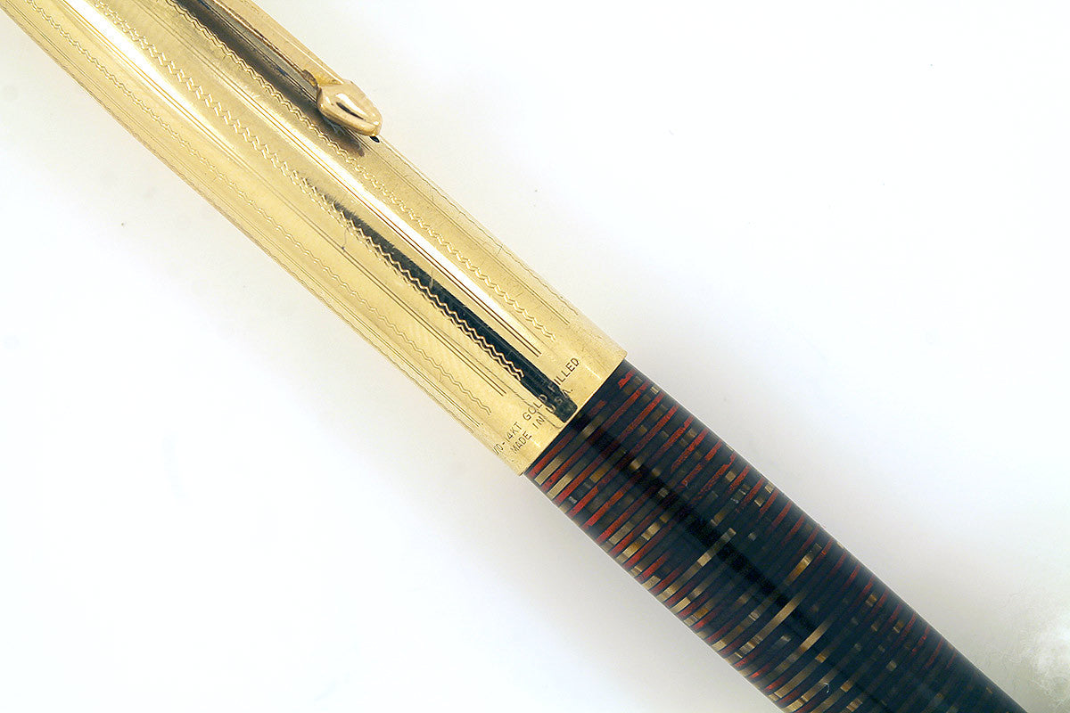 RESTORED 1940 PARKER VACUMATIC IMPERIAL DEBUTANTE DOUBLE JEWELED FOUNTAIN PEN OFFERED BY ANTIQUE DIGGER