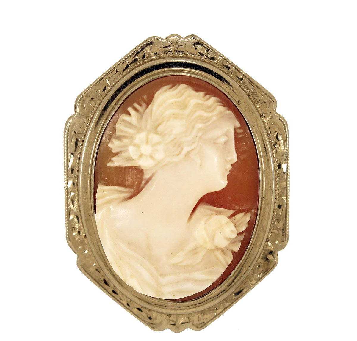 ANTIQUE 14K CAMEO BROOCH WITH HAND CHASED BEZEL & RELIEF SHELL CAMEO OFFERED BY ANTIQUE DIGGER