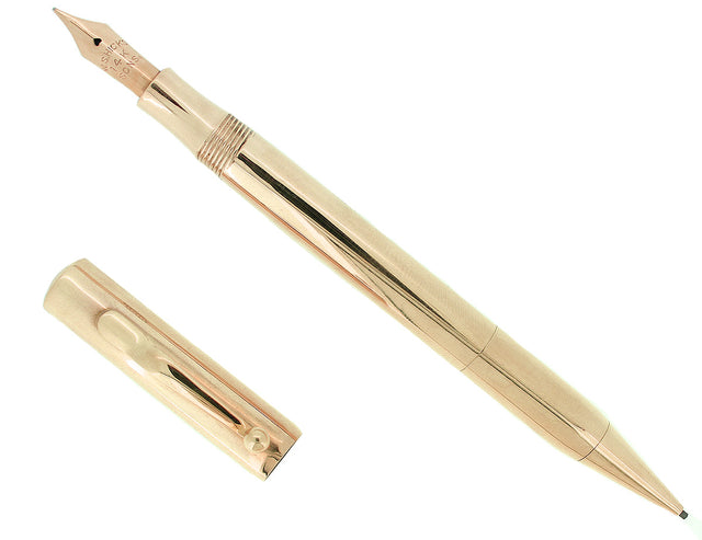 C1920S 14K W.S. HICKS & SONS MADE FOR TIFFANY COMBO FOUNTAIN PEN PENCIL RESTORED OFFERED BY ANTIQUE DIGGER