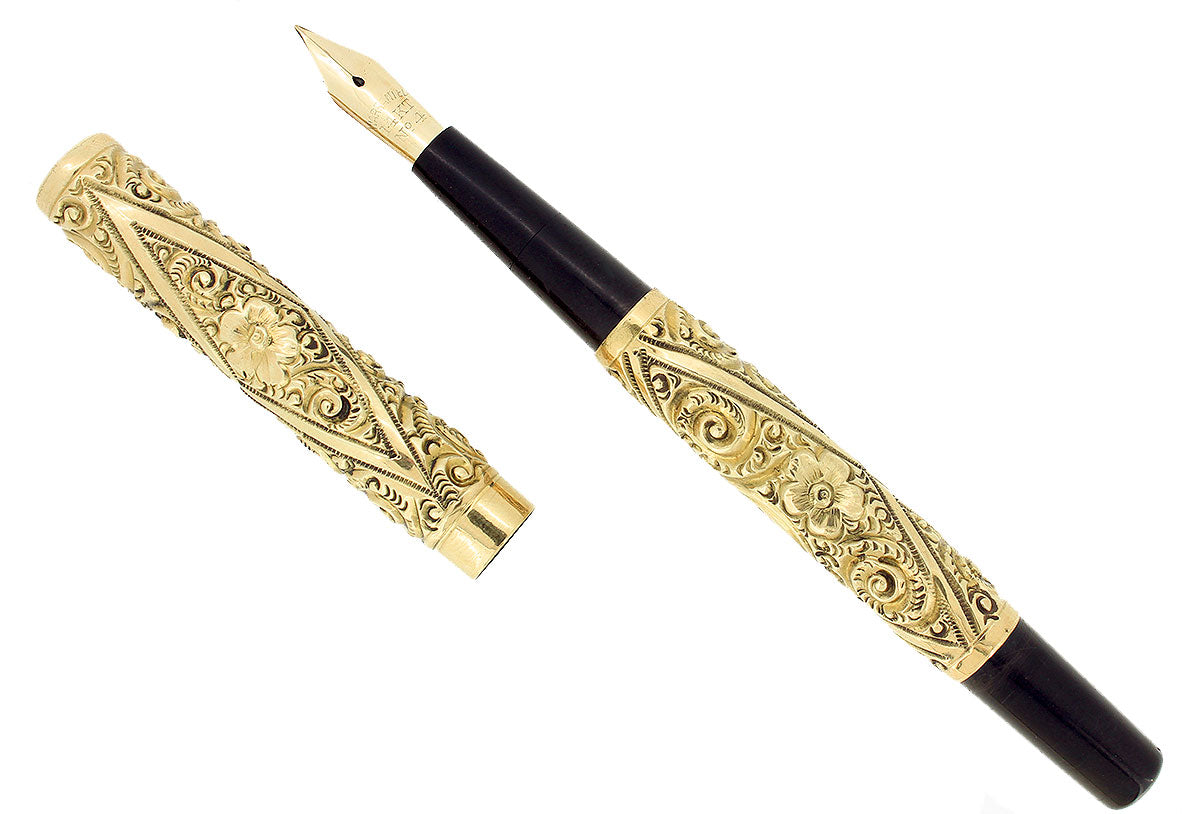 LATE 1800S REPOUSSE GOLD FILLED DIAMOND SNAIL FLORAL PATTERN FOUNTAIN PEN RESTORED OFFERED BY ANTIQUE DIGGER