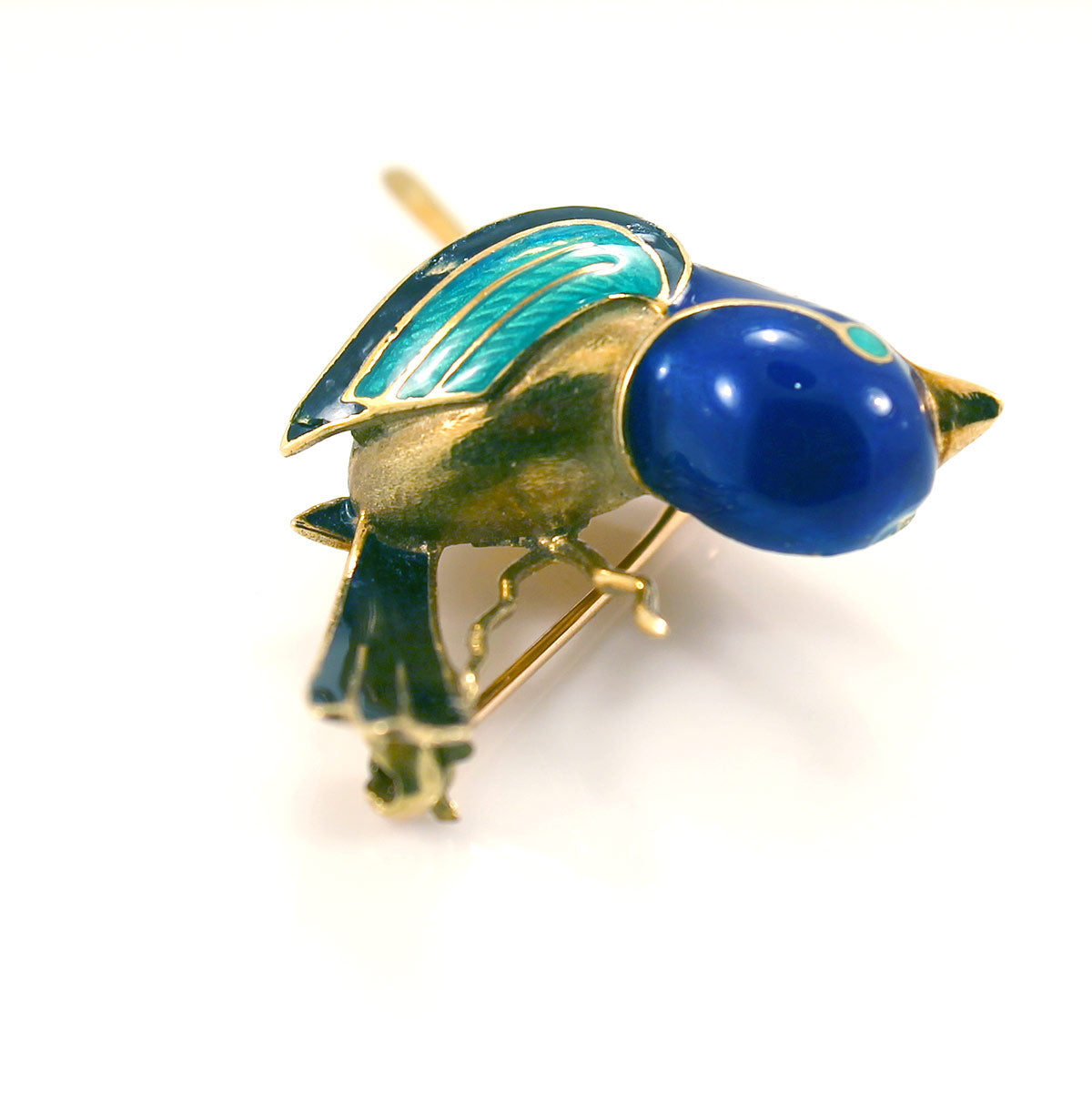 VINTAGE ESTATE 18K GOLD & ENAMELED BIRD BROOCH DESIGNED SIGNED S-MCI OFFERED BY ANTIQUE DIGGER