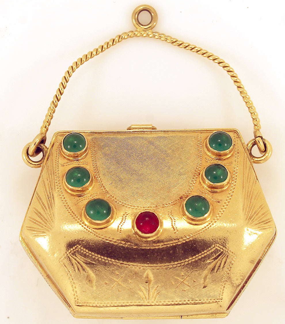 ESTATE ANTIQUE 18K 750 YELLOW GOLD EMERALD & RUBY CABOCHON JEWELED MINIATURE PURSE offer by Antique Digger