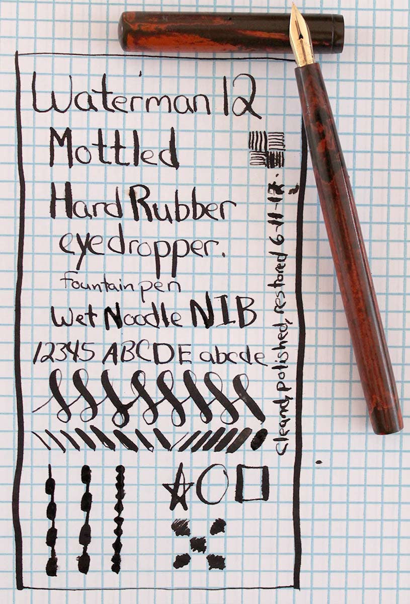 CIRCA 1915 WATERMAN #12 RED MOTTLED INK DROPPER FOUNTAIN PEN WITH XF to 2.6MM+ FLEXIBLE NIB