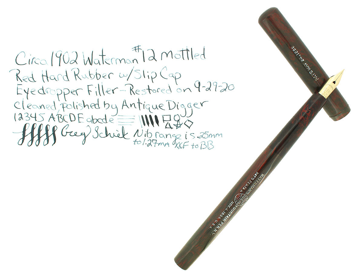 C1902 WATERMAN #12 MOTTLED HARD RUBBER FOUNTAIN PEN XXF-BB NIB RESTORED EXCELLENT OFFERED BY ANTIQUE DIGGER