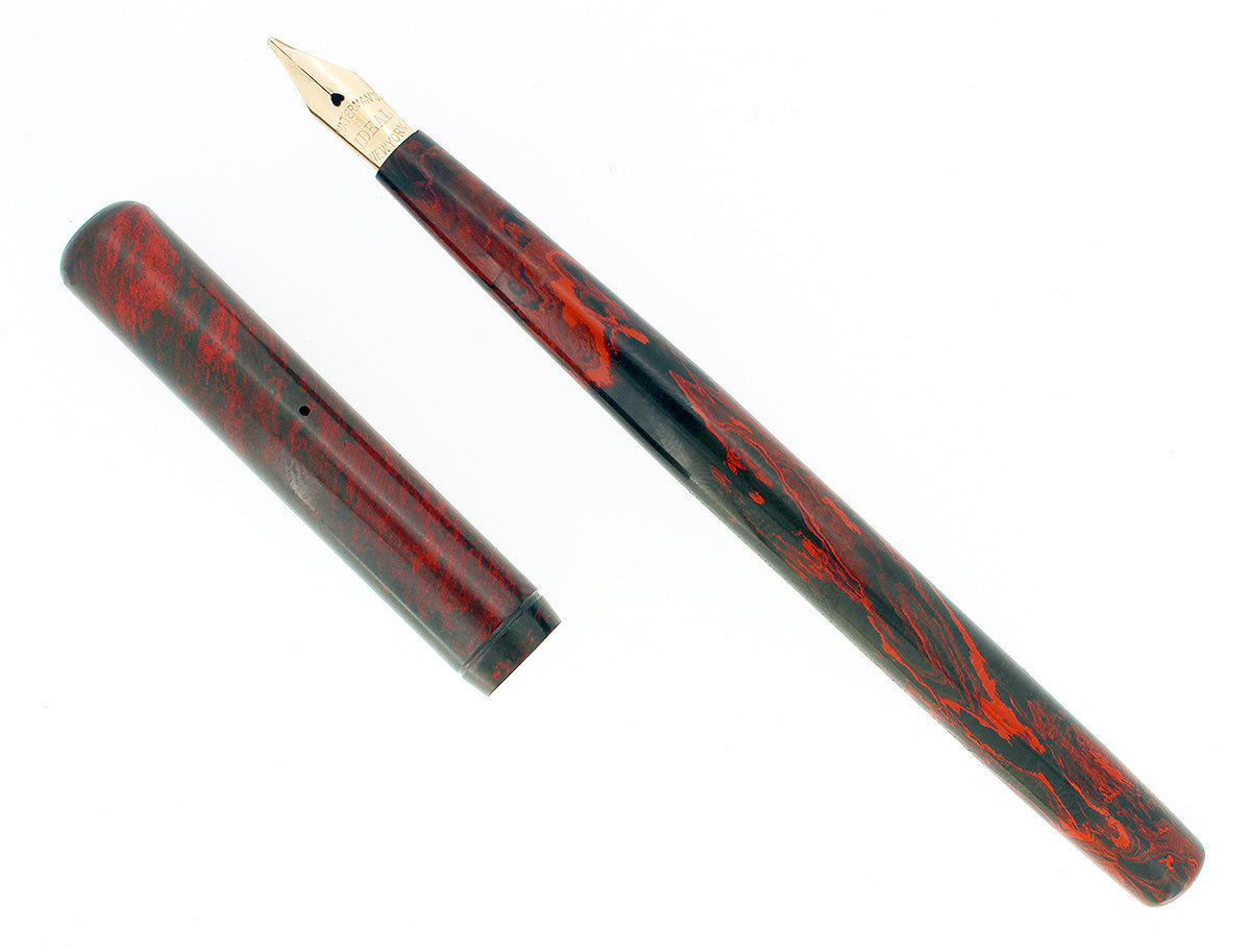 C1915 WATERMAN #12 MOTTLED RED HARD RUBBER FLEX NIB 2.94mm FOUNTAIN PEN RESTORED OFFERED BY ANTIQUE DIGGER