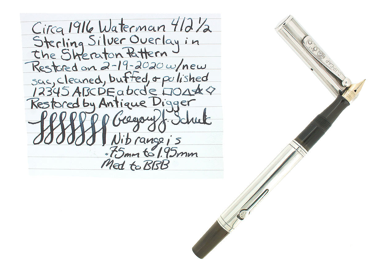 C1916 WATERMAN 12 1/2 STERLING SHERATON FOUNTAIN PEN M-BBB FLEX NIB RESTORED OFFERED BY ANTIQUE DIGGER