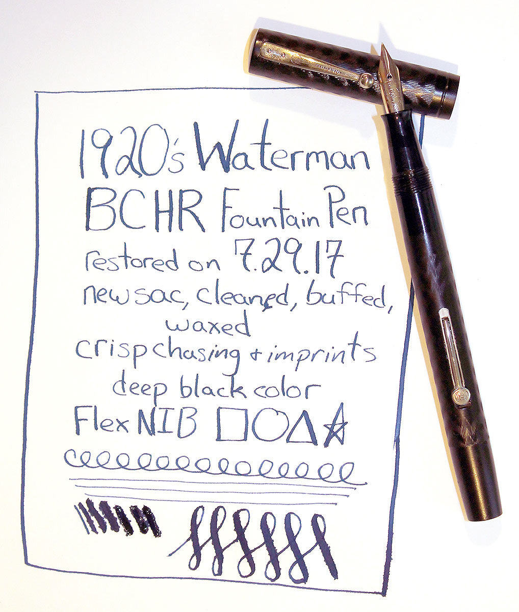 1920s WATERMAN 52 BCHR FOUNTAIN PEN NICKEL TRIM XF to BBB+ FLEX NIB RESTORED OFFERED BY ANTIQUE DIGGER