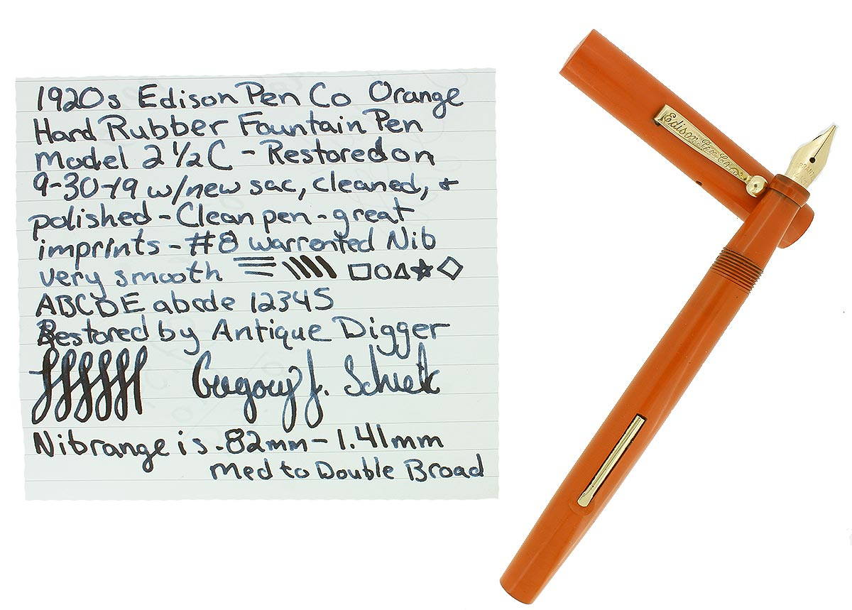 1920S EDISON PEN CO ORANGE HARD RUBBER FOUNTAIN PEN M-BB 14K NIB RESTORED OFFERED BY ANTIQUE DIGGER